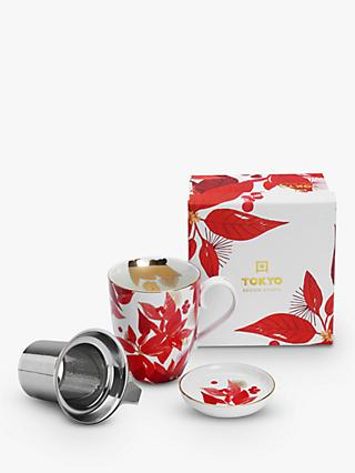 Tokyo Design Studio Nippon Christmas Poinsettia Infuser Mug & Lid, 380ml, White/Red