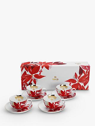 Tokyo Design Studio Nippon Christmas Poinsettia Cup & Saucer, Set of 4, 250ml, White/Red