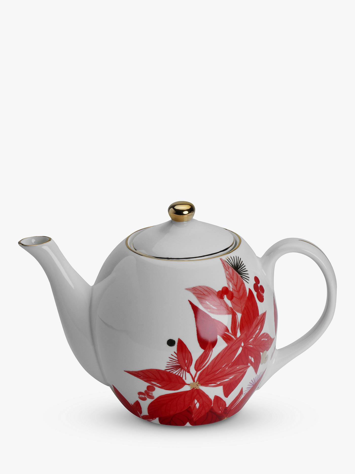 Buy Tokyo Design Studio Nippon Christmas Poinsettia Teapot, 1.3L, White/Red Online at johnlewis.com