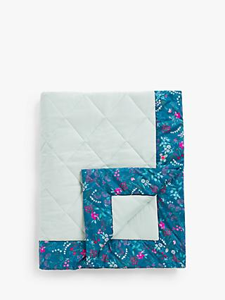 John Lewis & Partners Heirloom Collection Floral Print Muslin Quilt, 120 x 120cm, Teal