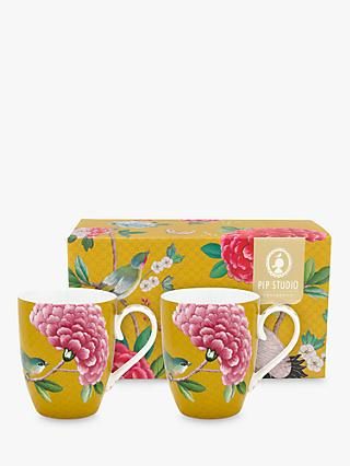 Pip Studio Blushing Birds Large Mug, Set of 2, 350ml, Yellow