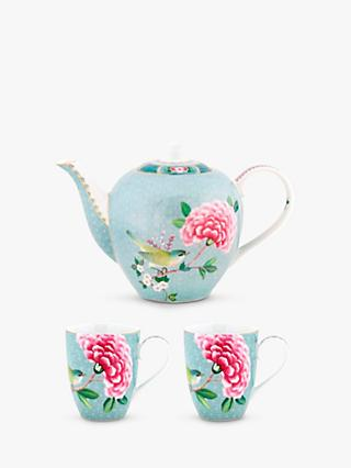 Pip Studio Blushing Birds Teapot & 2 Mugs, Blue/Multi