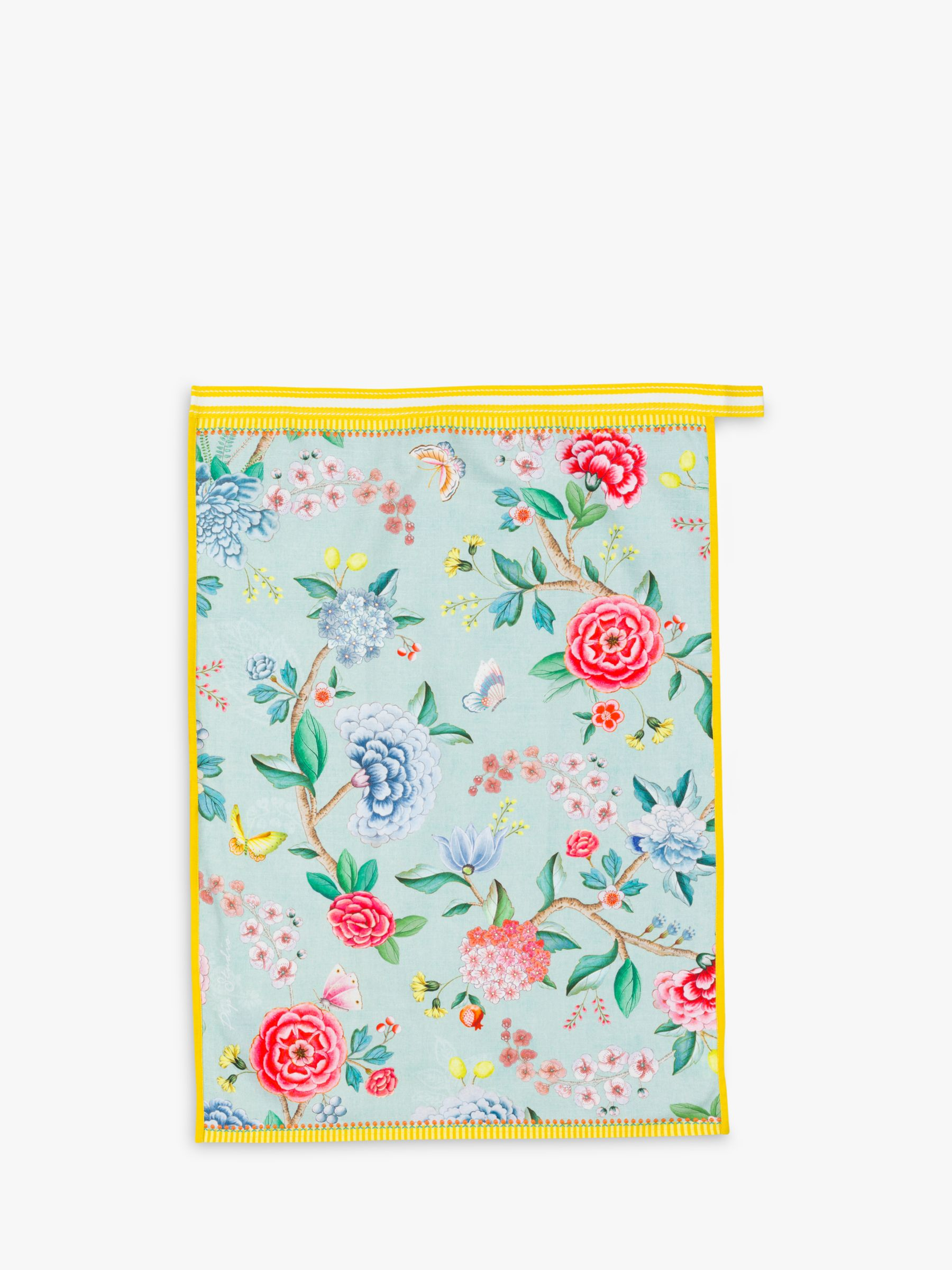 Pip Studio Blushing Birds Cotton Tea Towel, Blue/Multi