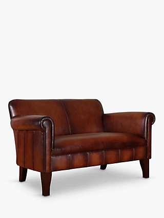 John Lewis & Partners Camford II Petite 2 Seater Leather Sofa, Dark Leg