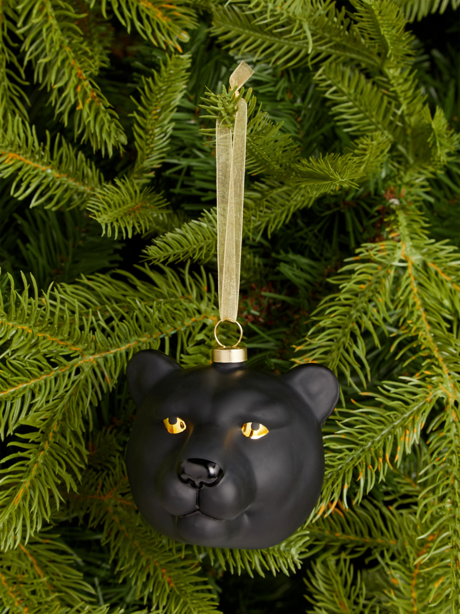 John Lewis & Partners Art Nouveau Panther Bauble, Black