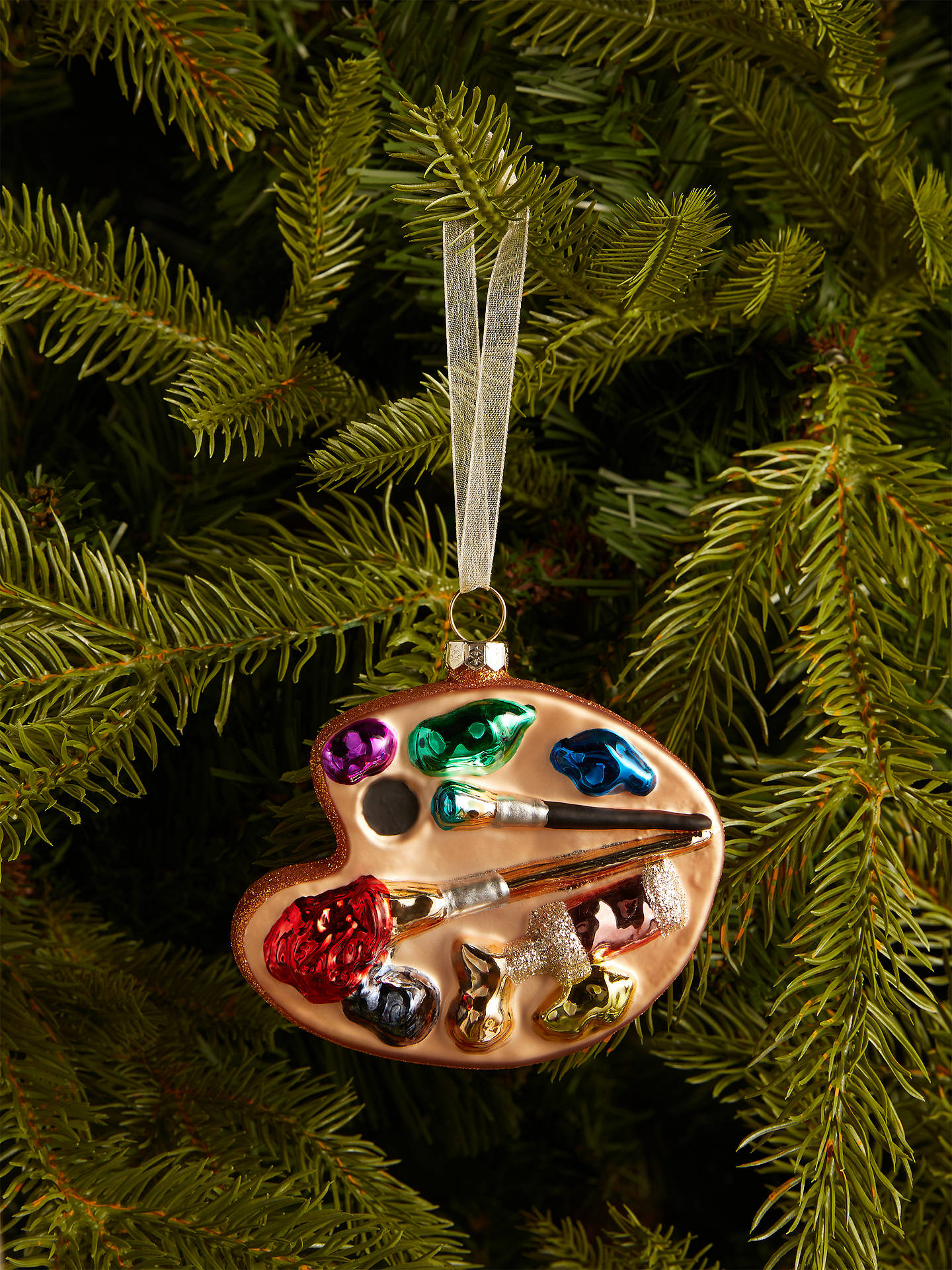 Buy John Lewis & Partners Pop Art Rainbow Paint Palette Bauble, Mutli Online at johnlewis.com