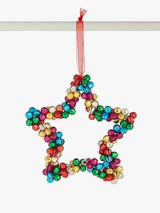 John Lewis & Partners Pop Art Rainbow Mini Bell Star Tree Decoration, Multi