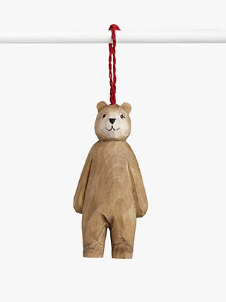 John Lewis & Partners Bloomsbury Wooden Bear Tree Decoration