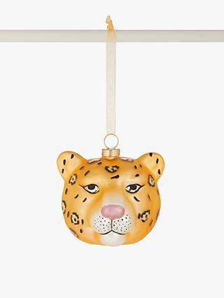 John Lewis & Partners Art Nouveau Leopard Head Bauble, Gold