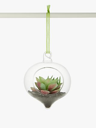 John Lewis & Partners Post Impressionism Succulent Bauble, Clear / Green