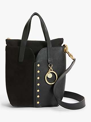 See By Chloé Gaia Mini Suede Leather Tote Bag, Black
