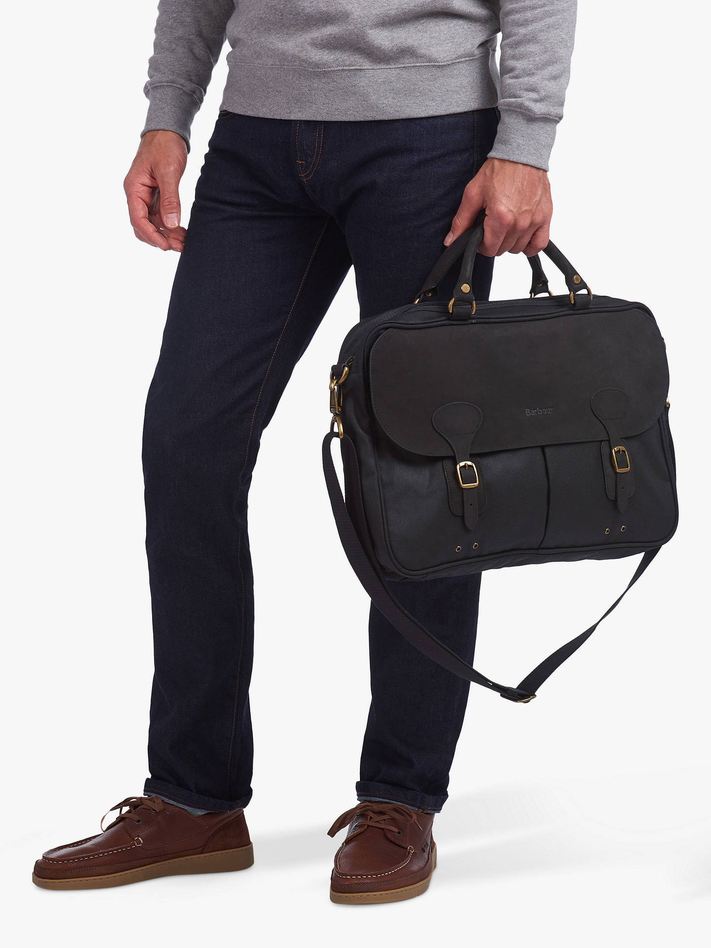 Buy Barbour Wax Leather Briefcase, Black Online at johnlewis.com