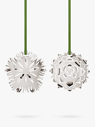 Georg Jensen Cut-Out Ice Flower Christmas Tree Decorations, Set of 2, Palladium