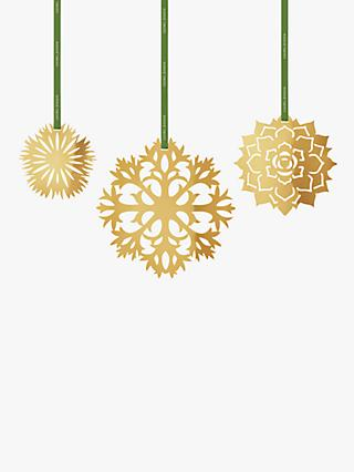 Georg Jensen Cut-Out Ice Flower Christmas Tree Decorations, Set of 3, 18 Karat Gold