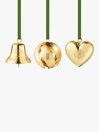 Georg Jensen Christmas Tree Decorations Gift Pack, Set of 3, Gold