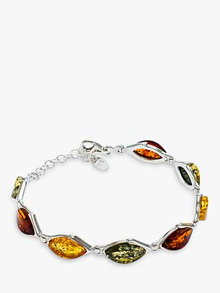 Be-Jewelled Marquise Baltic Amber Chain Bracelet, Silver/Multi