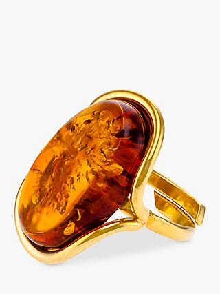 Be-Jewelled Oval Baltic Amber Adjustable Ring, Gold/Cognac