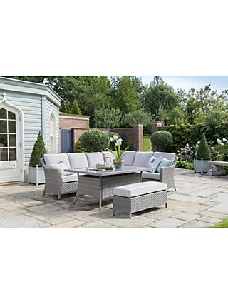 KETTLER Charlbury 8-Seater Modular Garden Dining Table & Chairs Corner Set, Natural