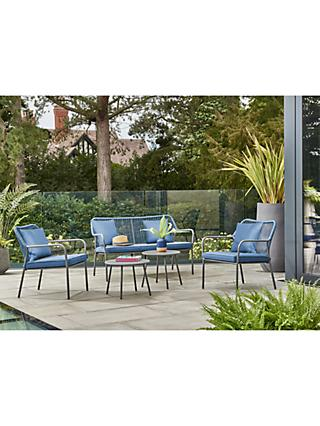 KETTLER Chatham 4-Seater Garden Lounging Side Table & Chairs Set, Blue
