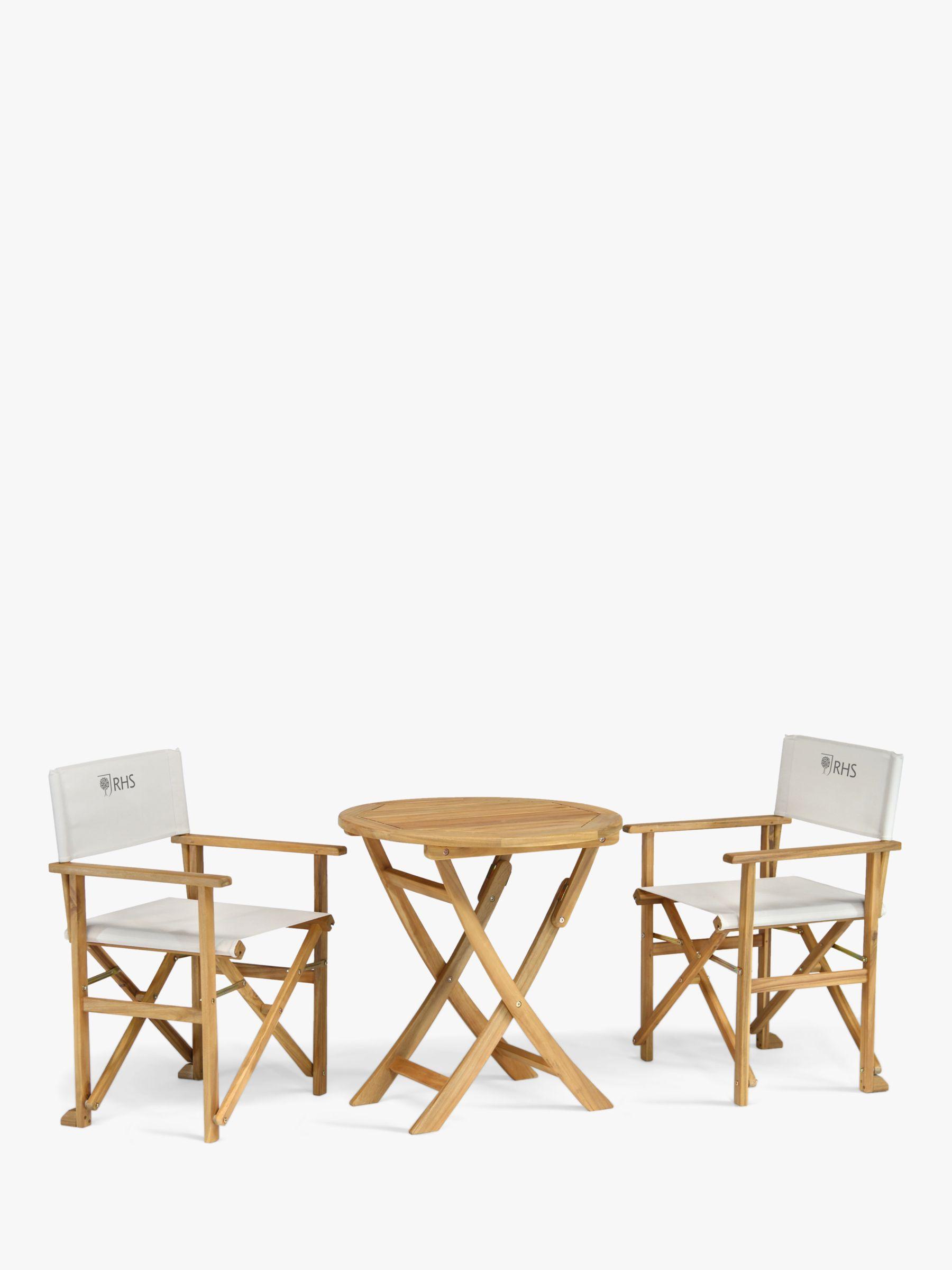 KETTLER RHS Chelsea 2-Seat Garden Bistro Table & Directors Chairs Set, FSC-Certified (Eucalyptus Wood), Natural