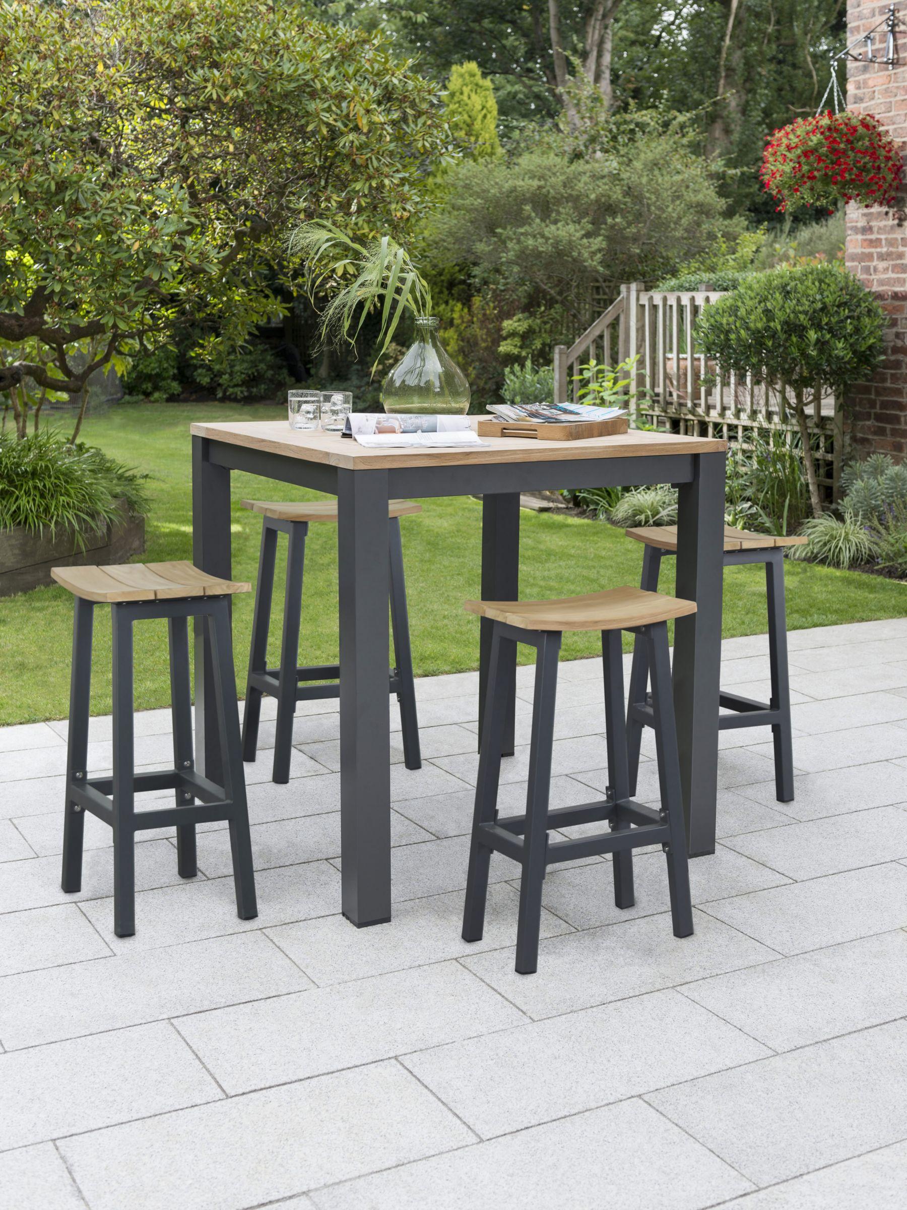 Kettler Elba 4 Seater High Dining Garden Table Stools Set Fsc Certified Teak Wood Grey Natural At John Lewis Partners
