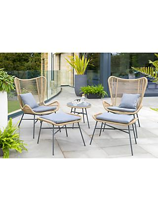 KETTLER Lyon 2-Seater Garden Lounging Side Table & Chairs Set, Natural
