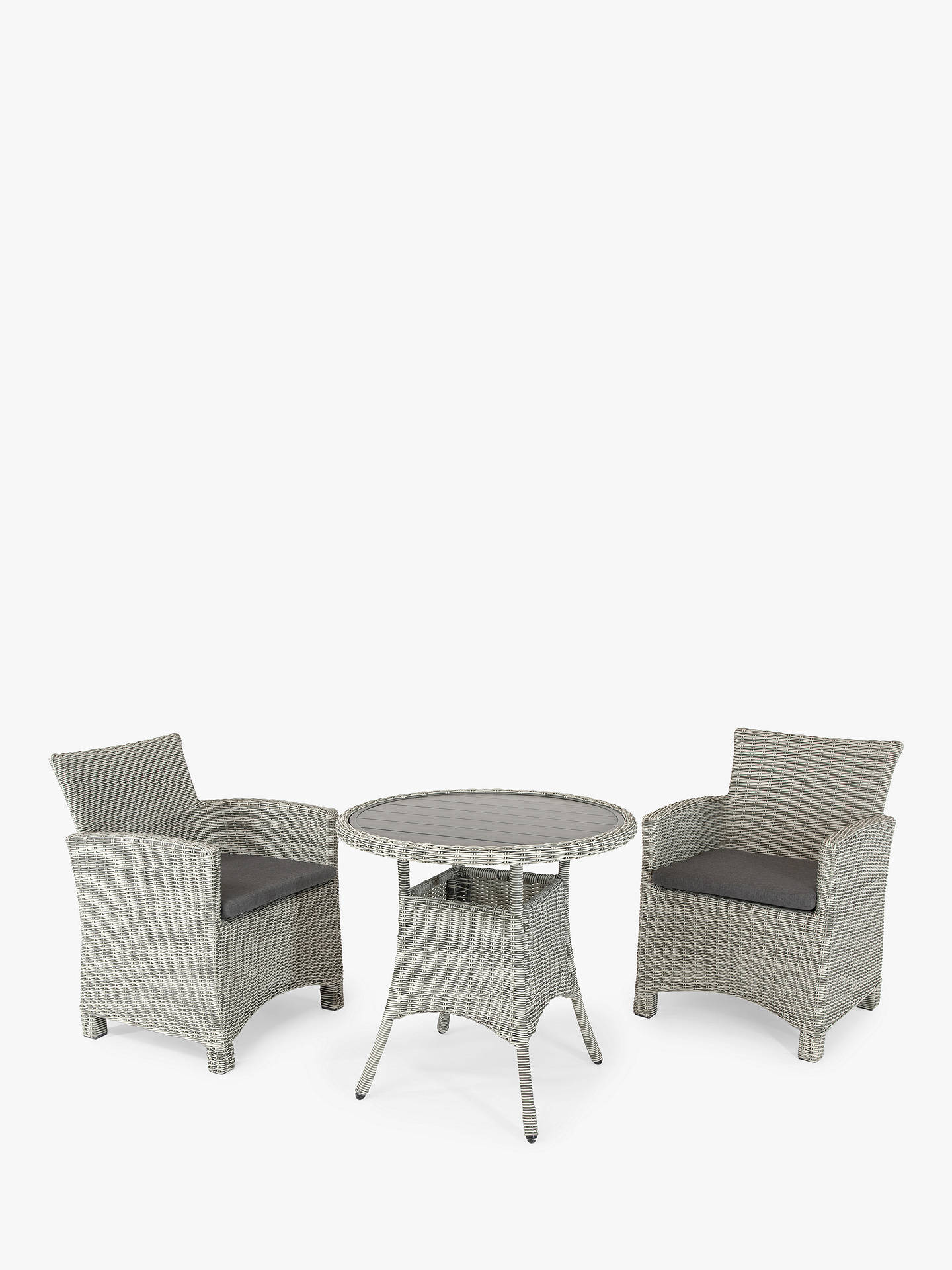 Buy KETTLER Palma 2-Seater Round Garden Bistro Table & Chairs Set, White Wash Online at johnlewis.com