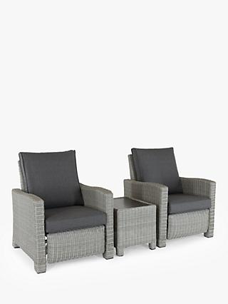KETTLER Palma 2-Seater Reclining Garden Chairs & Side Table Lounging Set