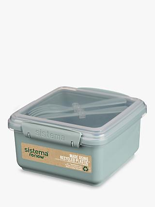 Sistema Renew Lunch Plus Box with Knife & Fork,1.2L, Assorted
