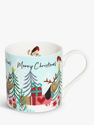 Belly Button Designs Merry Christmas Sausage Dog Mug, 350ml, Multi