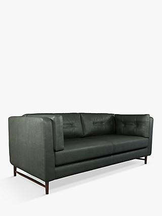 John Lewis & Partners Booth Grand 4 Seater Leather Sofa, Dark Leg
