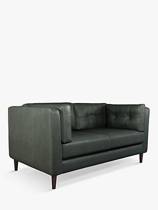 John Lewis & Partners Booth Medium 2 Seater Leather Sofa, Dark Leg
