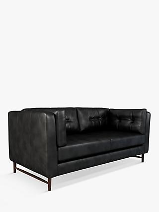 John Lewis & Partners Booth Large 3 Seater Leather Sofa, Dark Leg
