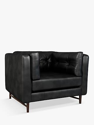 John Lewis & Partners Booth Leather Snuggler, Dark Leg