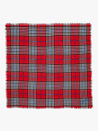Mulberry Bright Colour Check Square Wool Scarf