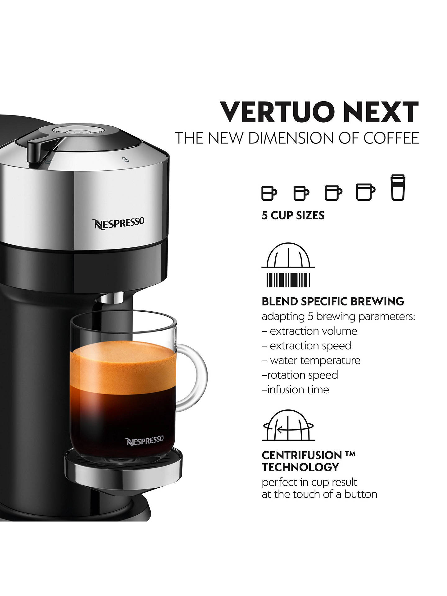 Buy Nespresso Vertuo Next Coffee Machine by Magimix, Chrome Online at johnlewis.com