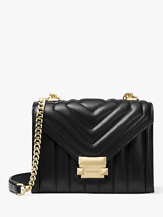 MICHAEL Michael Kors Whitney Small Quilted Leather Shoulder Bag, Black/Gold