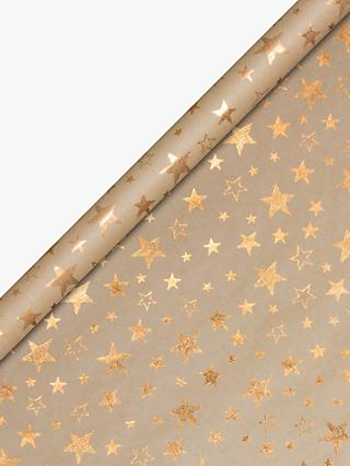 John Lewis & Partners Kraft Copper Stars Wrapping Paper, 3m