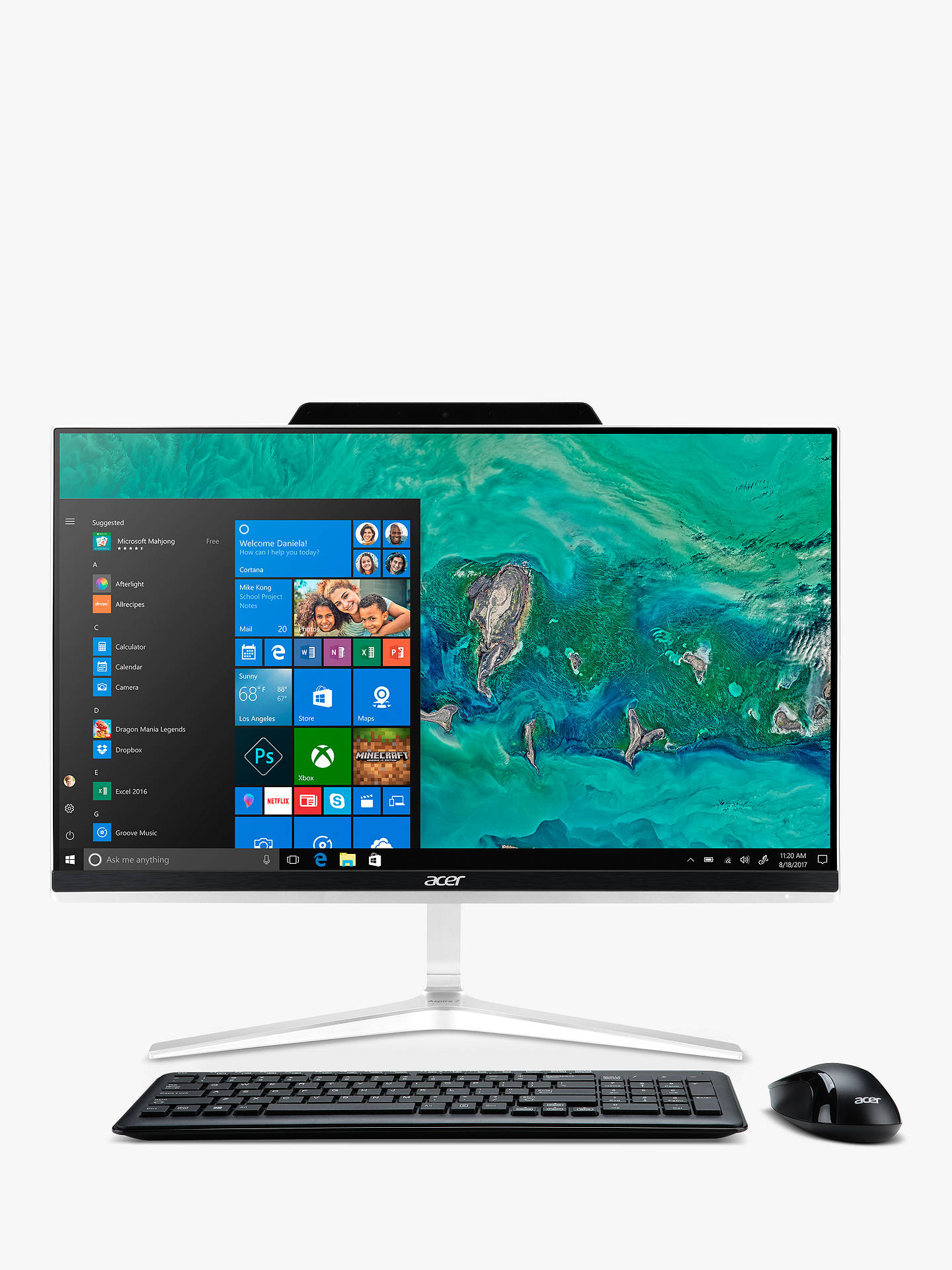 "Buy Acer Z24-891 All-in-One Desktop PC, Intel Core i5 Processor, 8GB RAM, 2TB HDD + 256GB SSD, 23.8"" Full HD, Black/Silver Online at johnlewis.com"