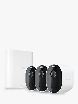 Arlo Pro 3 Smart Security System with Three 2K HDR Cameras, White