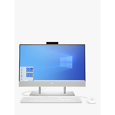 Image of HP 24-dp0004na All-in-One Desktop PC, Intel Pentium Processor, 4GB RAM, 128GB SSD, 23.8 Full HD, Natural Silver