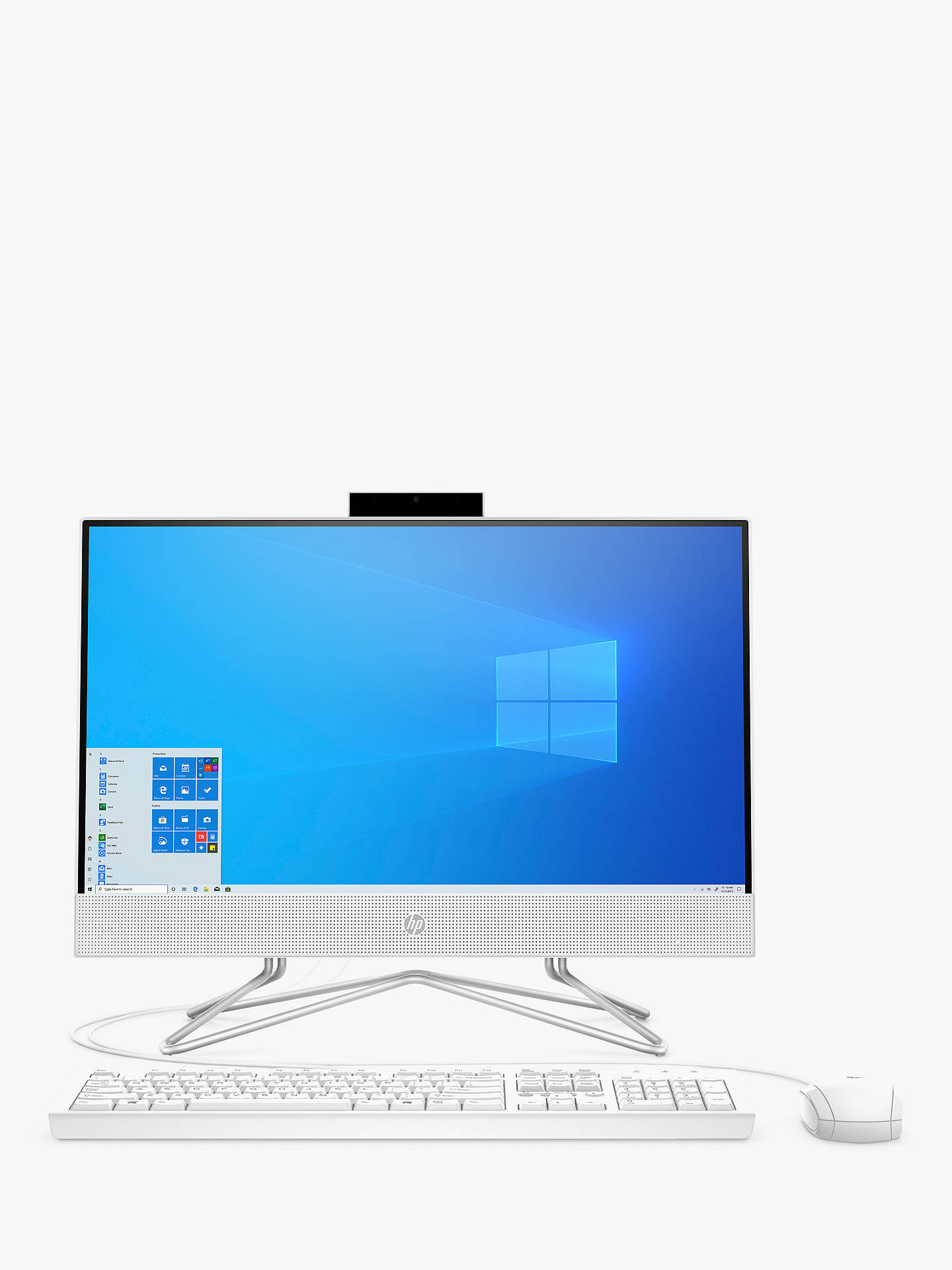 "Buy HP 22-df0001na All-in-One Desktop PC, Intel Pentium Processor, 4GB RAM, 128GB SSD, 21.5"" Full HD, Snow White Online at johnlewis.com"
