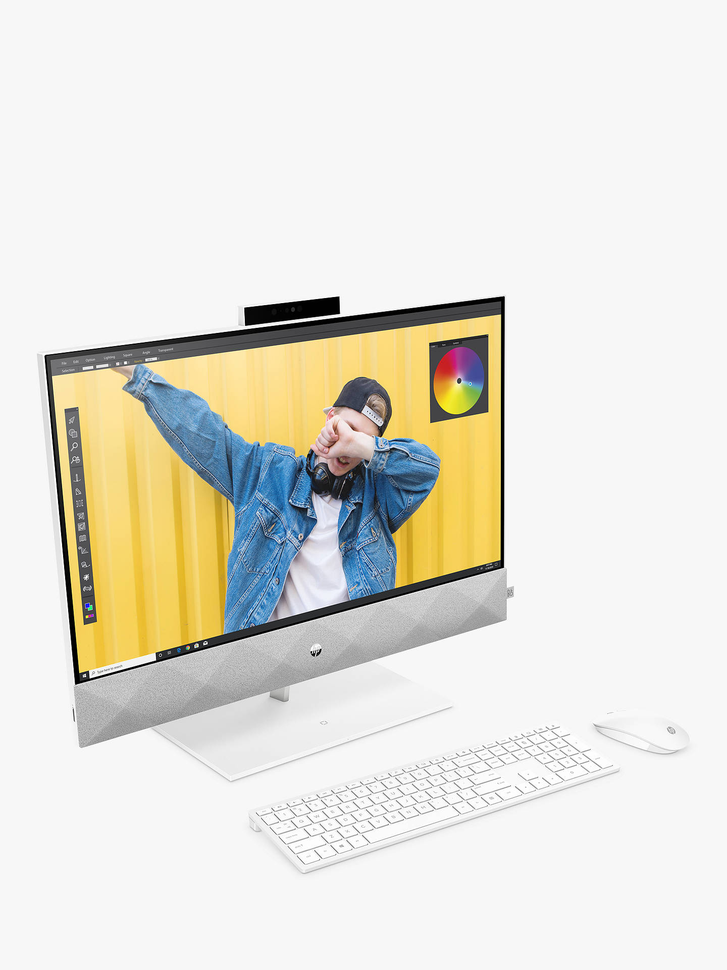 "Buy HP Pavilion 27-d0010na All-in-One Desktop PC, Intel Core i7 Processor, 16GB RAM, 512GB SSD, 27"" Full HD, Snowflake White Online at johnlewis.com"