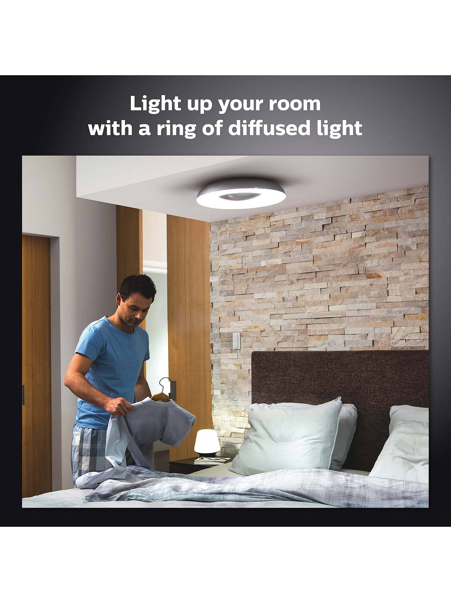 Buy Philips Hue White Ambiance Still LED Semi Flush Ceiling Light with Bluetooth and Dimmer Switch, Black Online at johnlewis.com