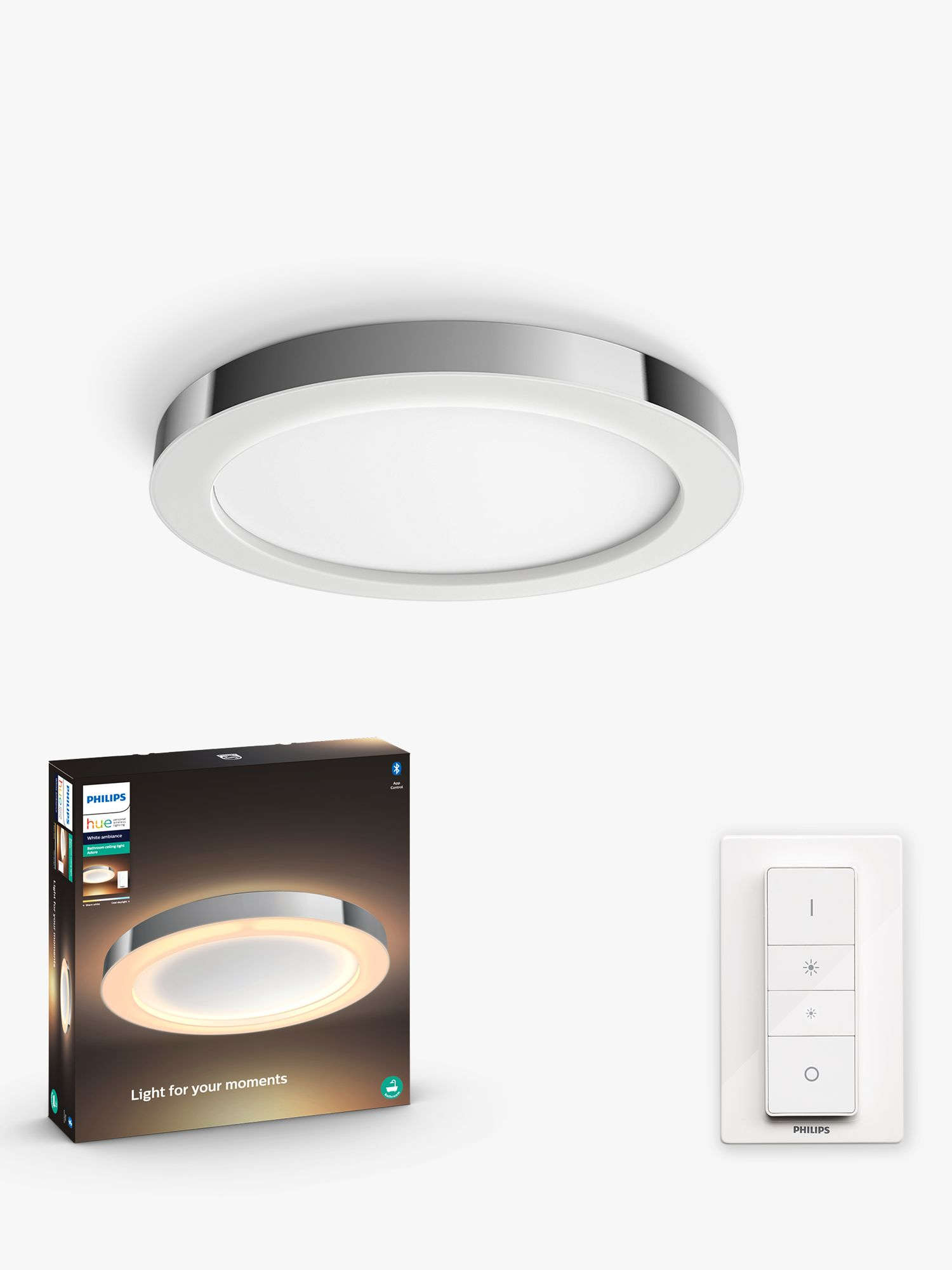 Philips Hue White Ambiance Adore Led Semi Flush Bathroom Ceiling Light With Bluetooth And Dimmer Switch Chrome At John Lewis Partners