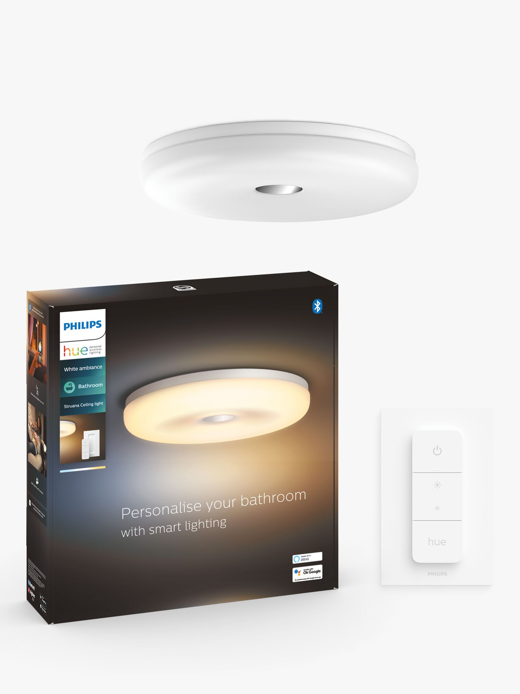 Philips Hue White Ambiance Struana Led Flush Bathroom Ceiling Light With Bluetooth And Dimmer Switch White At John Lewis Partners