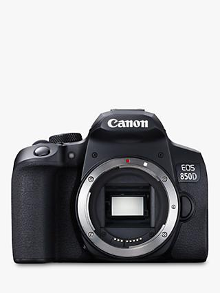 "Canon EOS 850D Digital SLR Camera, 4K Ultra HD, 24.1MP, Wi-Fi, Bluetooth, Optical Viewfinder, 3"" Vari-Angle Touch Screen, Body Only, Black"