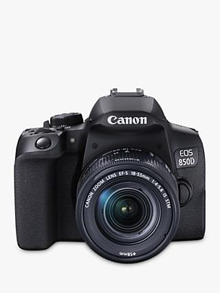 "Canon EOS 850D Digital SLR Camera with 18-55mm Lens, 4K Ultra HD, 24.1MP, Wi-Fi, Bluetooth, Optical Viewfinder, 3"" Vari-Angle Touch Screen, Black"