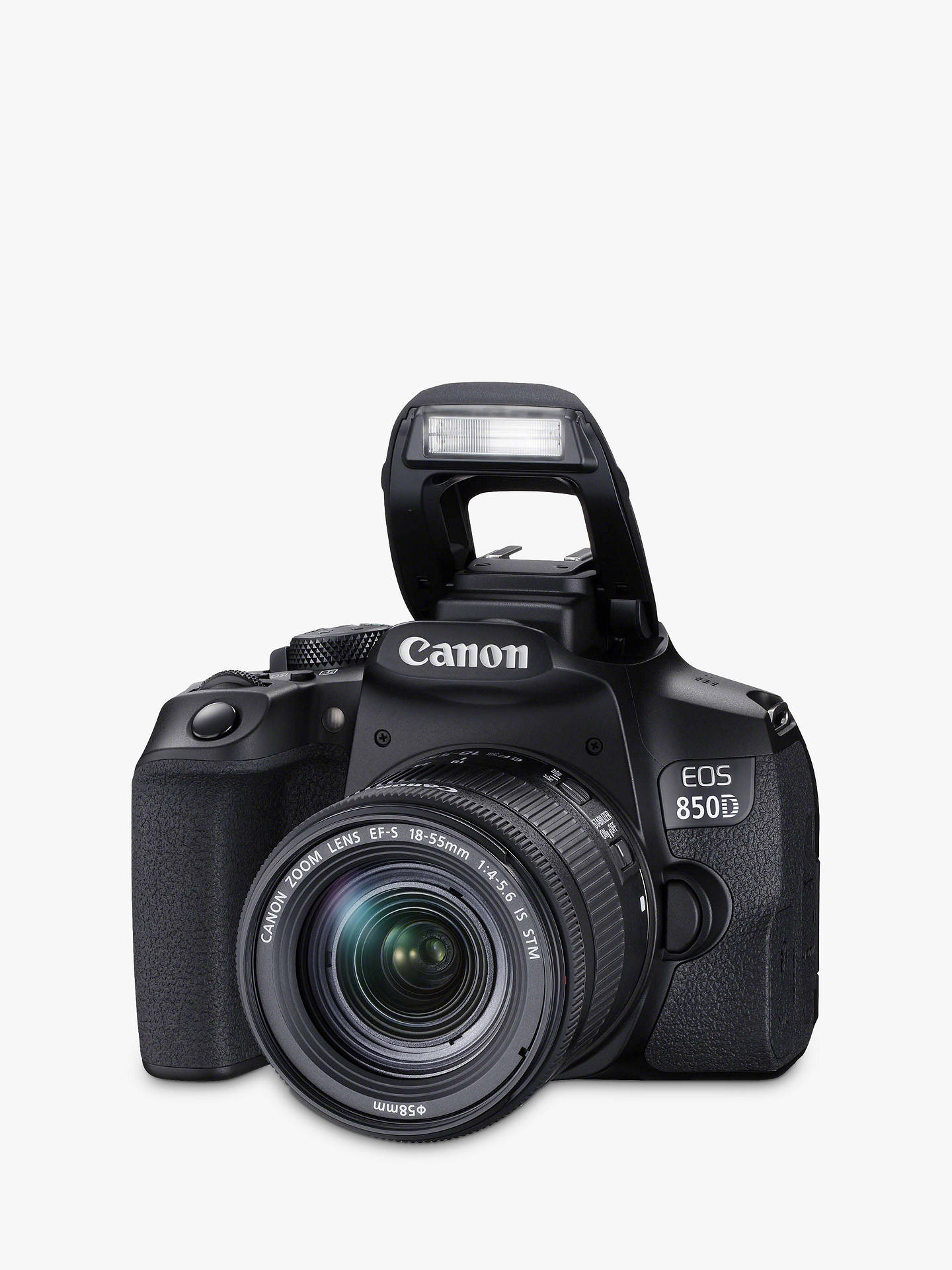 "Buy Canon EOS 850D Digital SLR Camera with 18-55mm Lens, 4K Ultra HD, 24.1MP, Wi-Fi, Bluetooth, Optical Viewfinder, 3"" Vari-Angle Touch Screen, Black Online at johnlewis.com"