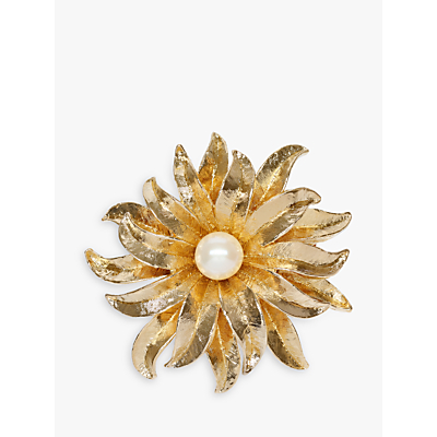 Eclectica Vintage 22ct Gold Plated Faux Pearl Flower Brooch, Old Gold